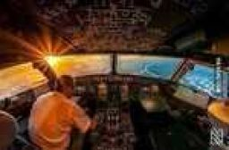 Sunrise in airplane cockpit