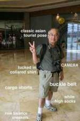 And this is classic Asian tourist dad attire
